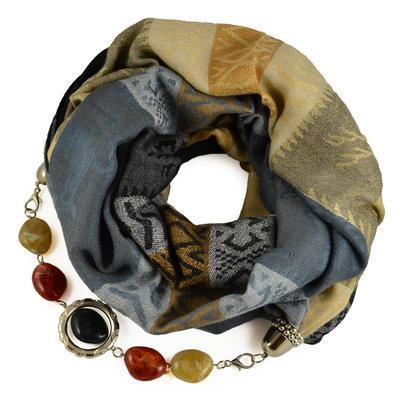 Warm bijoux scarf - grey and beige
