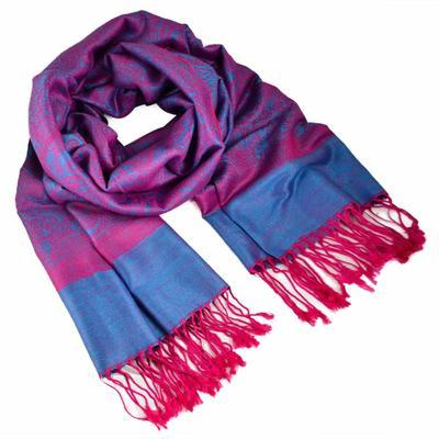 Classic cashmere scarf - pink and blue