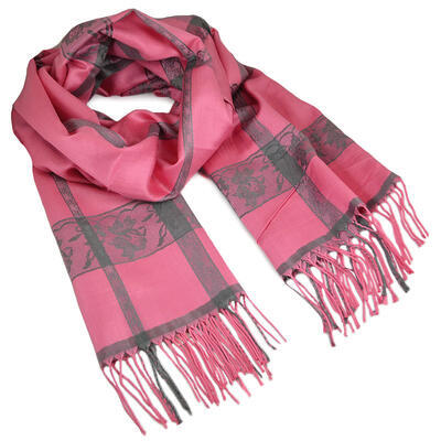 Classic winter scarf - pink and grey - 1