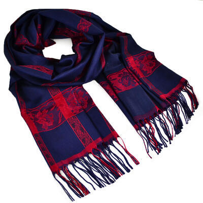 Classic winter scarf - blue and red - 1