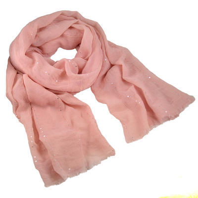 Classic women's cotton scarf - pink - 1