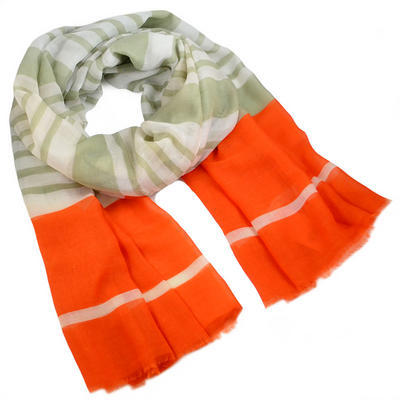 Classic women's scarf - orange woth stripes - 1