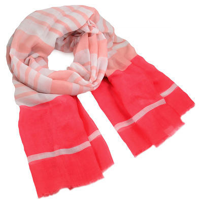 Classic women's scarf - pink with stripes - 1