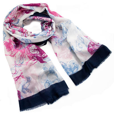 Classic women's scarf - white and violet - 1