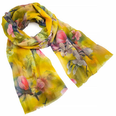 Classic women's scarf - yellow with floral print - 1