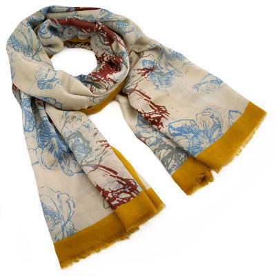 Classic women's scarf - beige and mustard yellow - 1