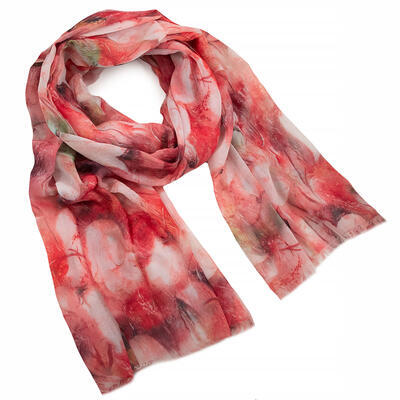 Classic women's scarf - red with floral print - 1