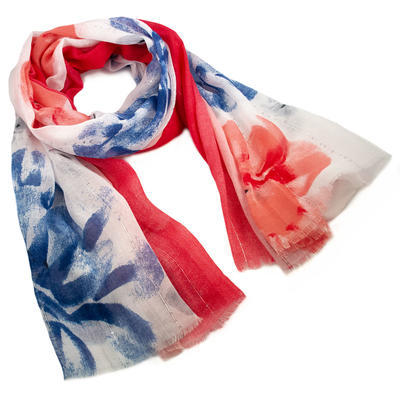 Classic women's scarf - red and blue - 1