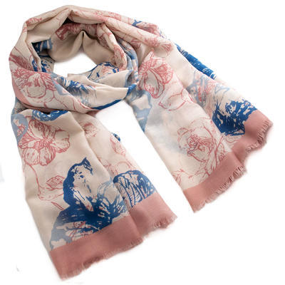 Classic women's scarf - pink and blue - 1