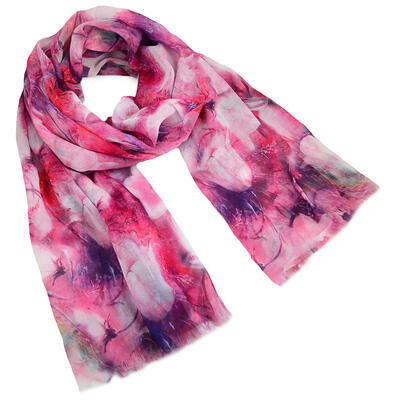 Classic women's scarf - pink with flowers - 1