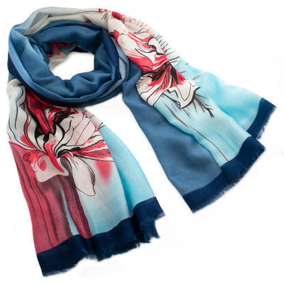 Classic women's scarf - blue and red - 1