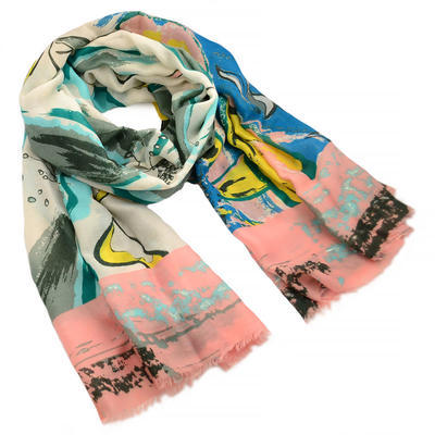 Classic women's scarf - beige and pink - 1