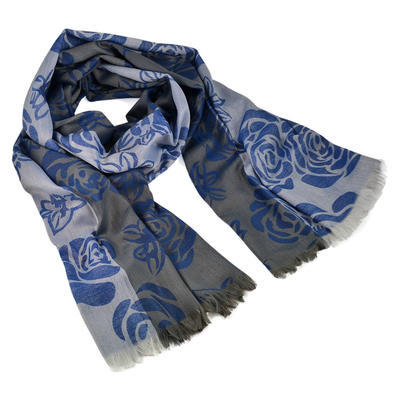 Classic women's scarf - grey and blue - 1