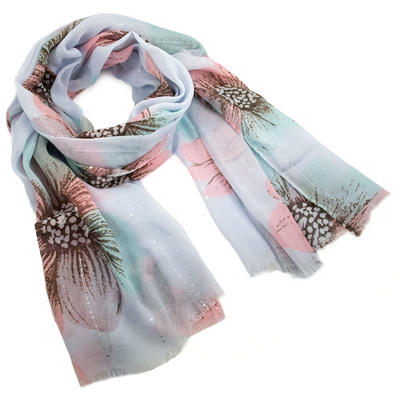 Classic women's scarf - light blue and pink - 1