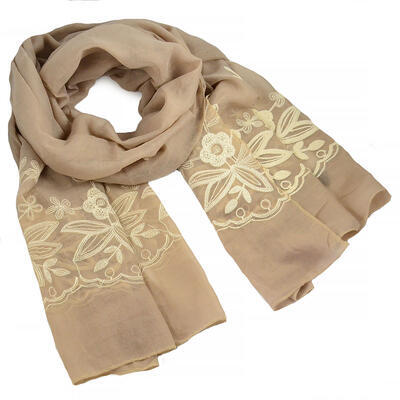Classic women's scarf - grey and pink - 1