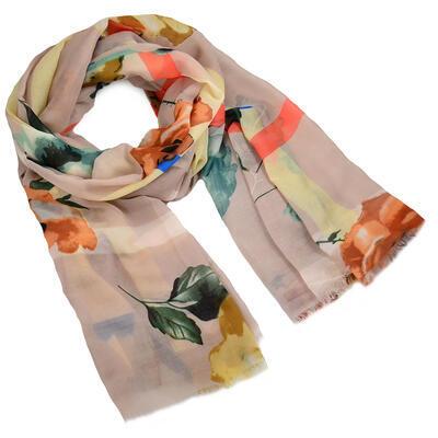 Classic women's scarf - light brown - 1