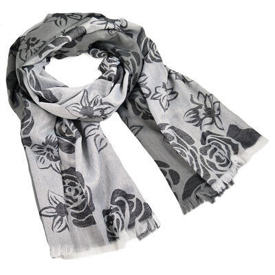 Classic women's scarf - grey and white - 1