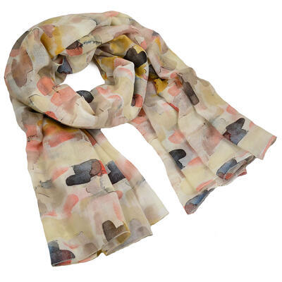 Classic women's scarf - beige and brown - 1