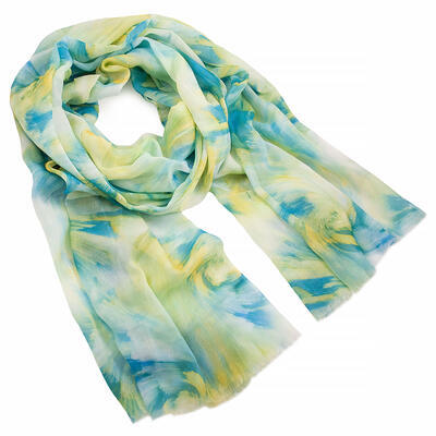 Classic women's scarf - white and green - 1