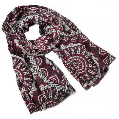 Classic women's scarf - red and white - 1