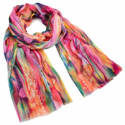 Classic women's scarf - fuchsia and green - 1
