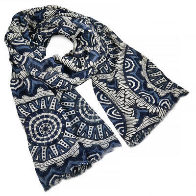 Classic women's scarf - blue and white - 1