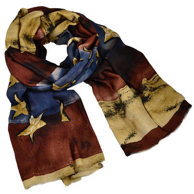 Classic women's scarf - brown and blue - 1