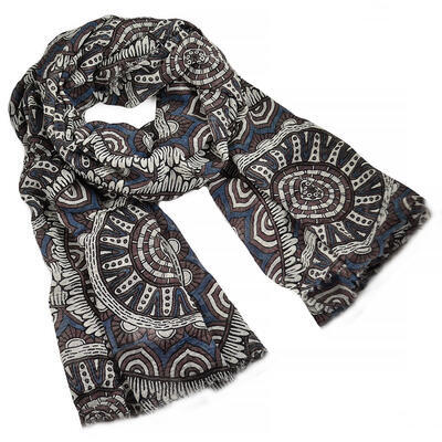 Classic women's scarf - blue and brown - 1