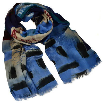 Classic women's scarf - blue - 1