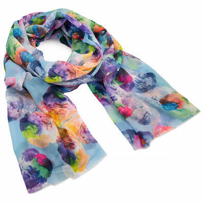 Classic women's scarf - lifgt blue with print - 1