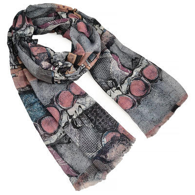Classic women's scarf - beige and red - 1