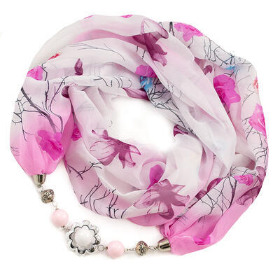Jewelry scarf Extravagant - white and pink - 1