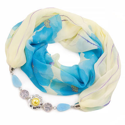 Jewelry scarf Extravagant - yellow and blue - 1