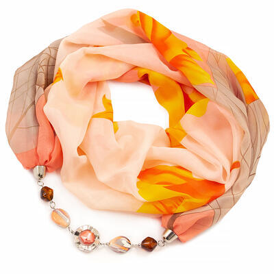Jewelry scarf Extravagant - orange and brown - 1