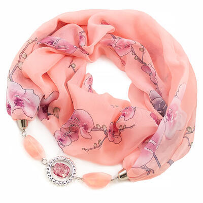 Jewelry scarf Extravagant - peach pink - 1