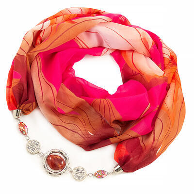 Jewelry scarf Extravagant - pink and brown - 1