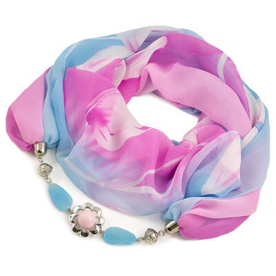 Jewelry scarf Extravagant - light blue and pink - 1
