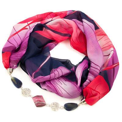 Jewelry scarf Extravagant - dark blue and violet - 1