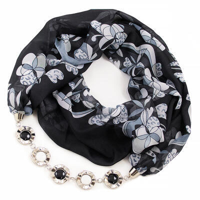 Jewelry scarf Extravagant - black and white - 1