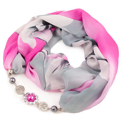 Jewelry scarf Extravagant - grey and pink - 1