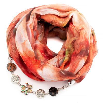 Cotton jewelry scarf - orange