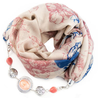 Cotton jewelry scarf - pink and blue