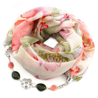 Cotton scarf - red&beige