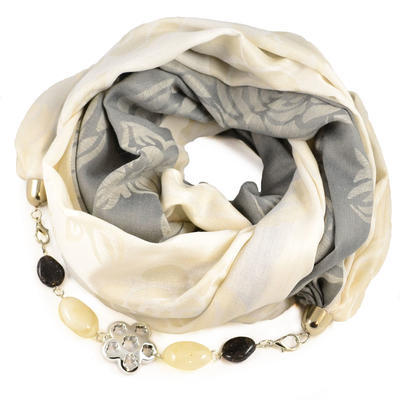 Cotton jewelry scarf - grey and beige