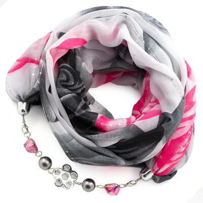 Cotton jewelry scarf - grey