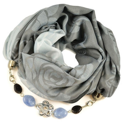Cotton jewelry scarf - grey and light blue
