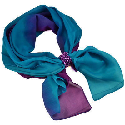 Jewelry scarf Melody - bluegreen and violet - 1