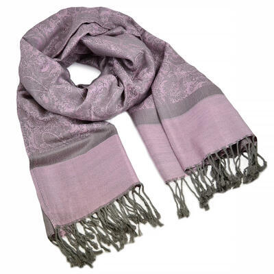 Classic cashmere scarf - pink and grey - 1