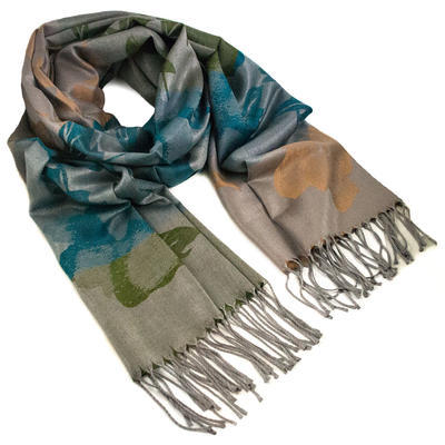 Classic warm scarf - brown and green - 1