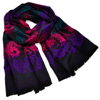 Classic warm scarf - black and violet - 1